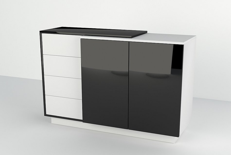 kommode schrank sideboard hochglanz h ngenden 120x90x40 cm anrichten wei ebay. Black Bedroom Furniture Sets. Home Design Ideas