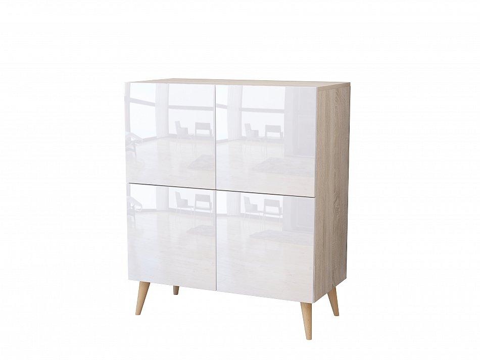 kommode h ngenden schrank sideboard mit f en hochglanz 80cm beistellkommode ebay. Black Bedroom Furniture Sets. Home Design Ideas