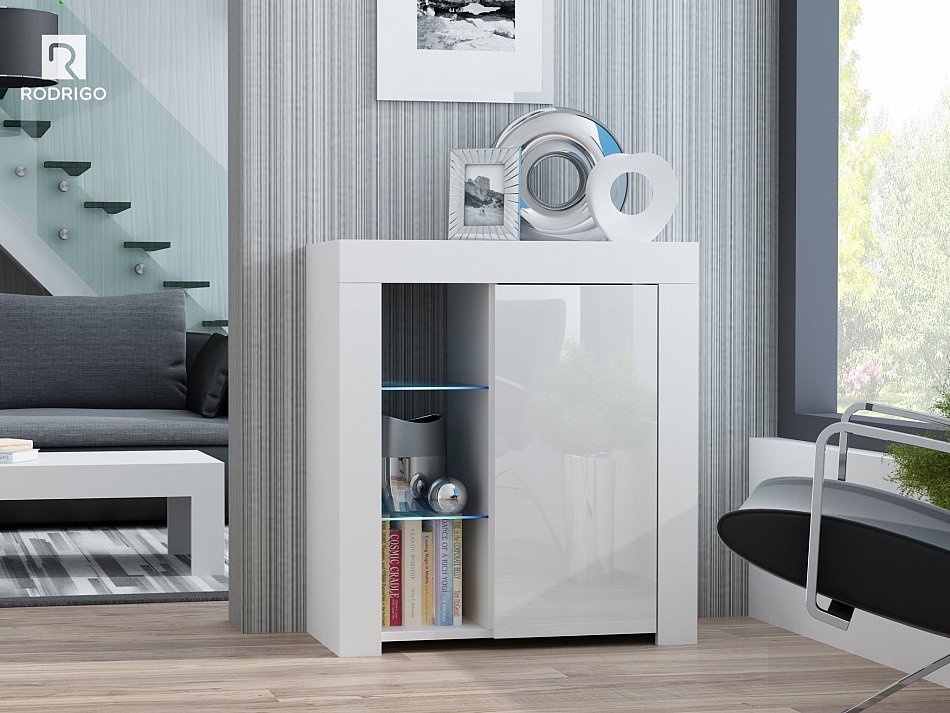 kommode schrank sideboard hochglanz anrichte mit led beleuchtung beistellkommode ebay. Black Bedroom Furniture Sets. Home Design Ideas