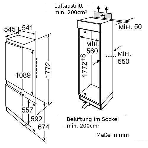 bosch einbau k hlschrank a mit gefrierfach 177cm k hl gefrierkombination neu ebay. Black Bedroom Furniture Sets. Home Design Ideas