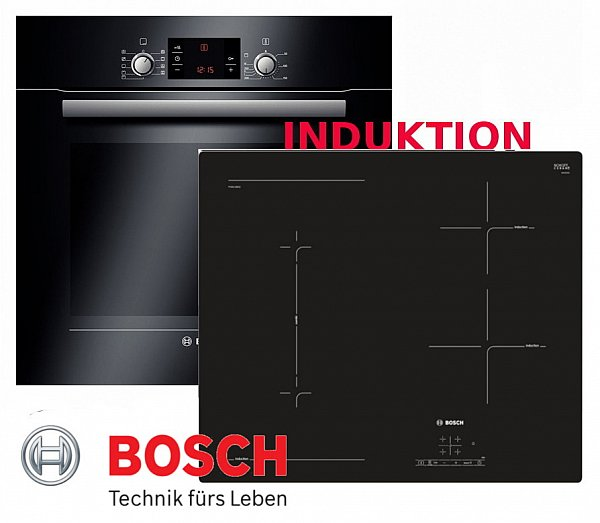 induktionsherd einbau autark ofen bosch backofen schwarz induktion kochfeld ebay. Black Bedroom Furniture Sets. Home Design Ideas