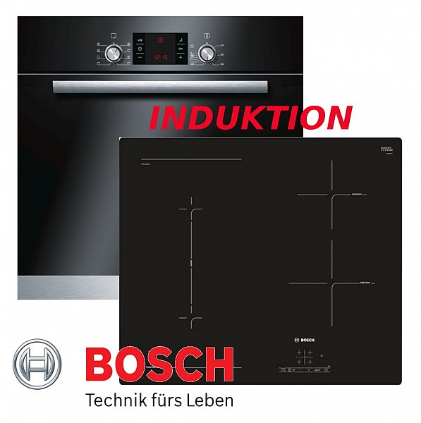 induktion herd set bosch einbau backofen umluft schwarz induktion kochfeld flexi ebay. Black Bedroom Furniture Sets. Home Design Ideas