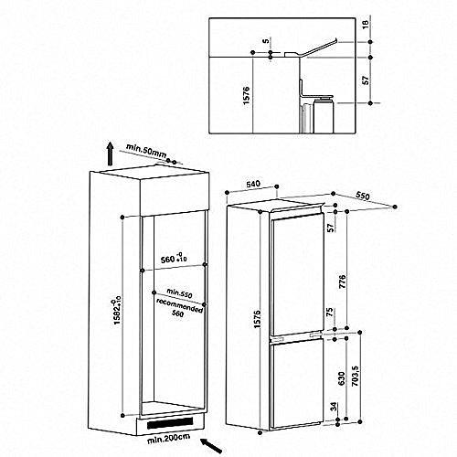 whirlpool art 5500 a einbau k hl gefrierkombination k hlschrank schleppt r neu ebay. Black Bedroom Furniture Sets. Home Design Ideas