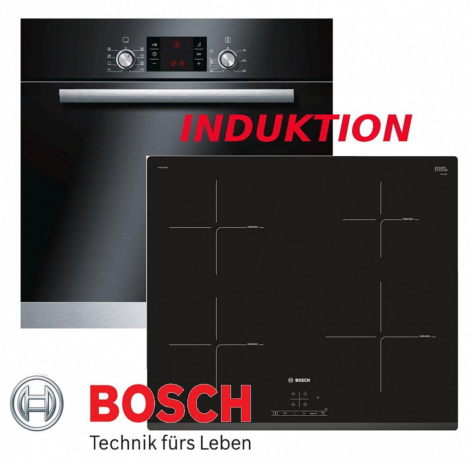 Induktion herd set bosch einbau backofen umluft schwarz for Bosch backofen