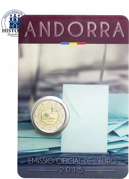 andorra 2 euro 2015 stgl 30 jahre vollj hrigkeit f r 18 j hrige in coincard ebay. Black Bedroom Furniture Sets. Home Design Ideas