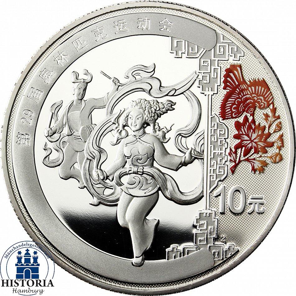 China 10 Yuan Silber 2008 Pp Olympiade Beijing Silbermünze Der