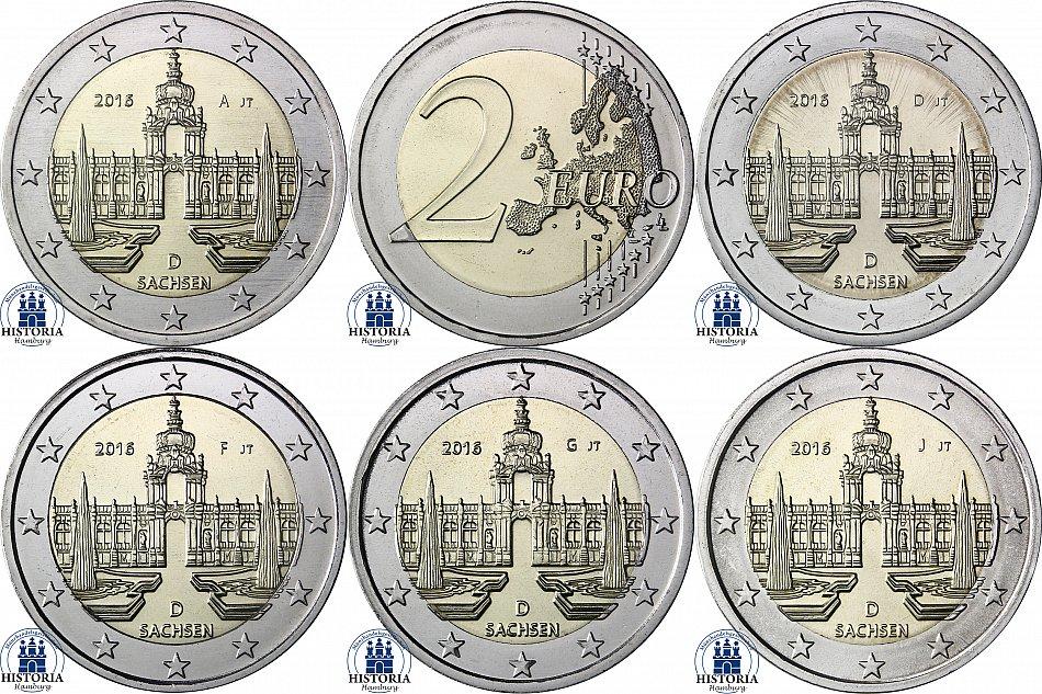 Deutschland 5 X 2 Euro Dresdner Zwinger 2016 Mzz A D F G J
