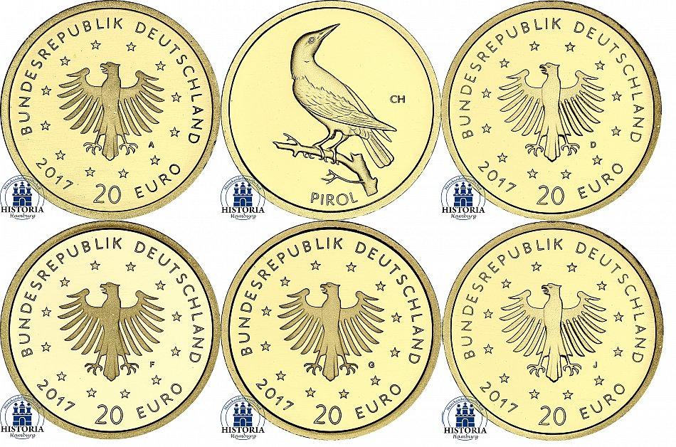Deutschland 20 Euro Goldmünze 2016 Heimische Vögel Nachtigall  Mzz D München