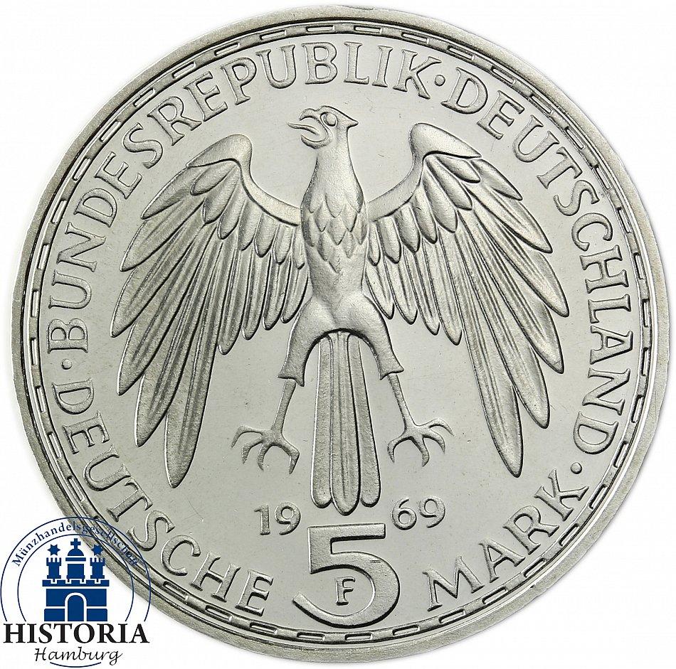 Deutschland 5 Dm Silber 1969 Stempelglanz Gerhard Mercator In