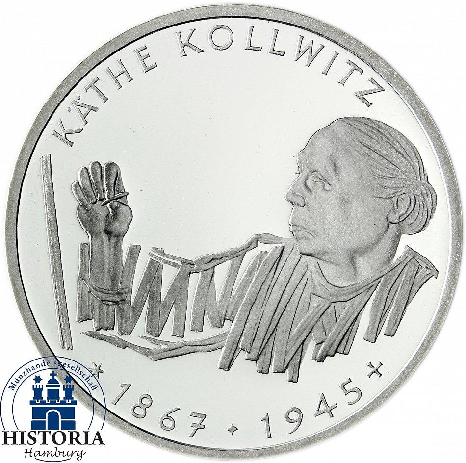 Brd 10 Dm Käthe Kollwitz 1992 Silber Stempelglanz Münze In