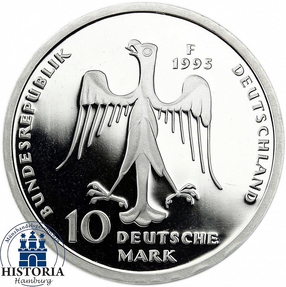 Brd 10 Dm Heinrich Der Löwen 1995 Silber Spiegelglanz Münze In