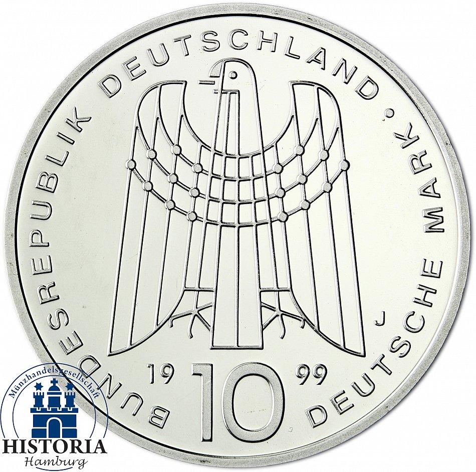 Germany 10 DM Silver 1998 Brilliant Uncirculated 50 years German mark in Capsule