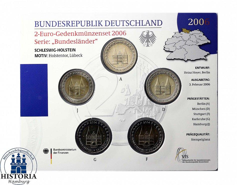 Deutschland 2 Euro Münzenset 2006 Bundesländer Schleswig Holstein