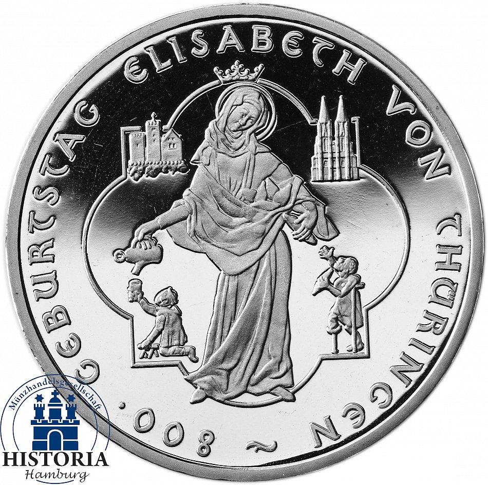Deutschland 10 Euro Elisabeth V Thüringen 2007 Silber Gedenk Münze
