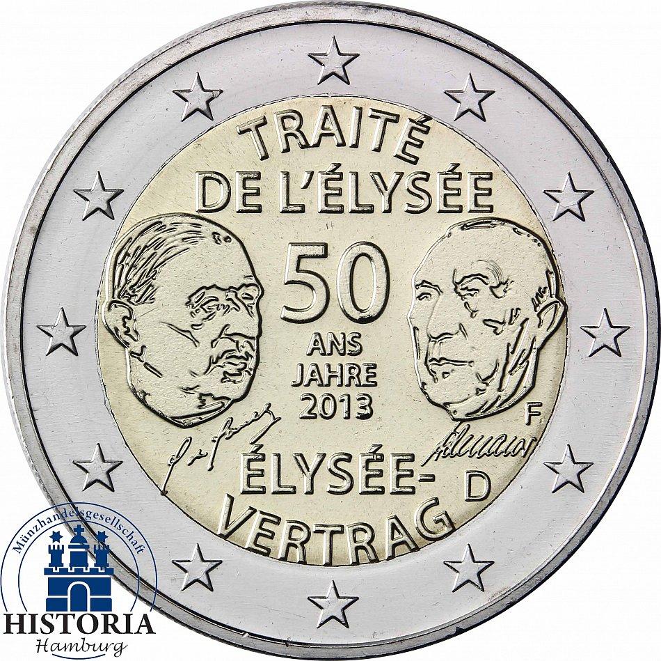 Elysee Vertrag 2 Euro Deutschland 2013 Gemeinschaftsausgabe