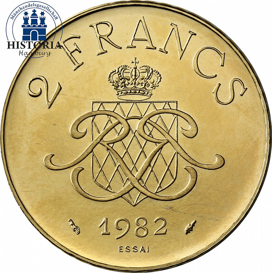 monaco 2 francs gold 1982 gold coin rainer iii prince of. Black Bedroom Furniture Sets. Home Design Ideas