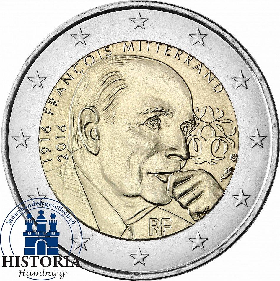 Frankreich 2 Euro Francois Mitterand Münze 2016 Gedenkmünze