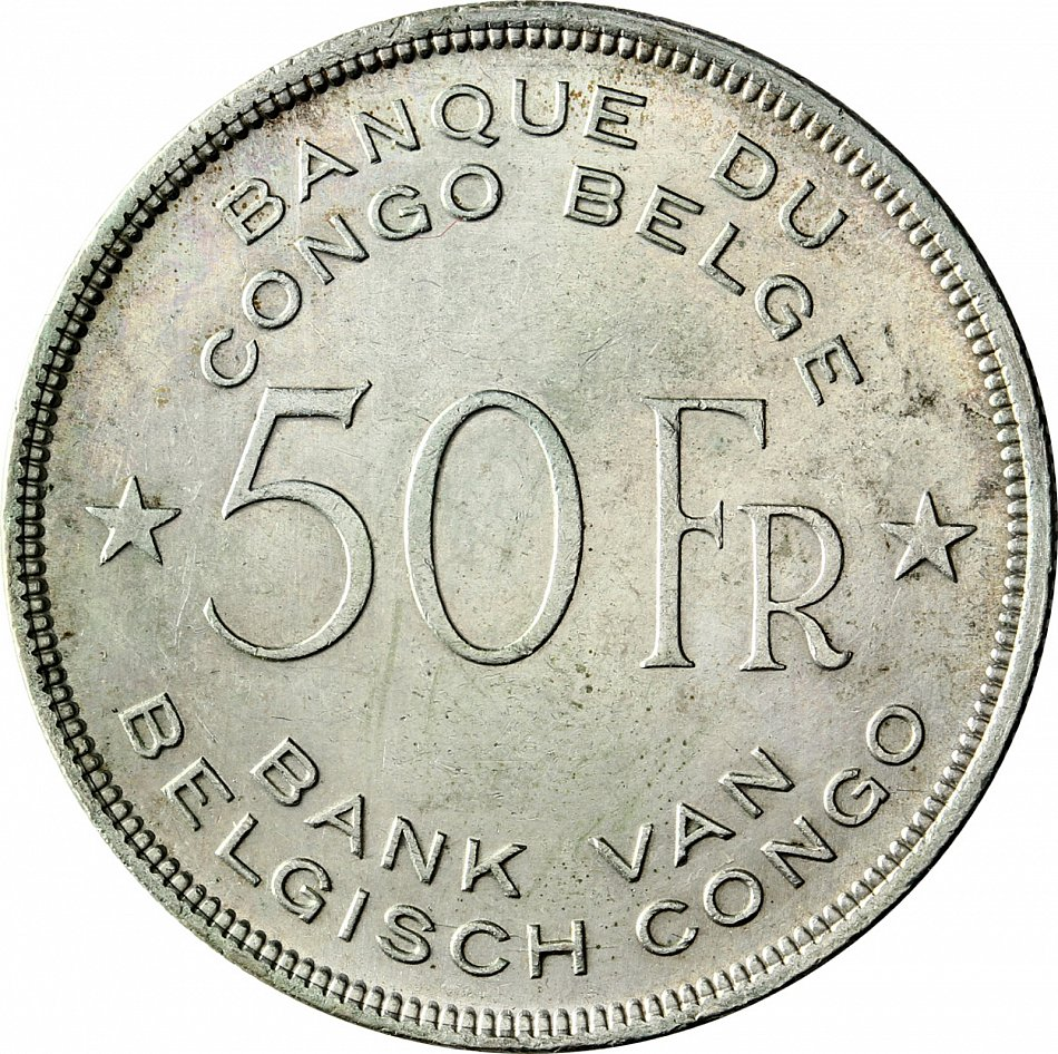 Belgisch Kongo 50 Francs 1944 Elefant Belgien Kolonialzeit Münze In