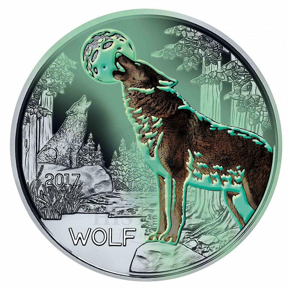österreich 3 Euro 2017 Der Wolf Tier Taler Münze Glow In The Dark In