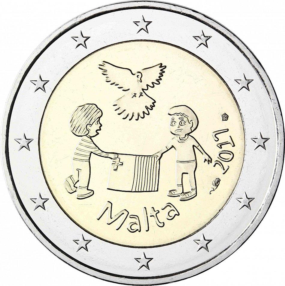 Malta 2 Euro Münze Frieden 2017 Von Kindern mit Solidarität ...