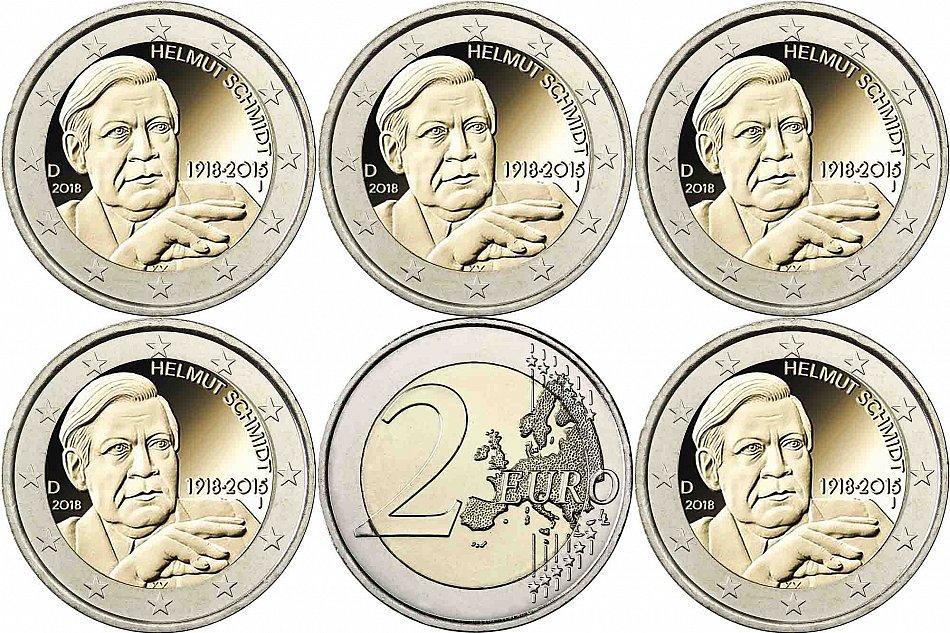 2 Euro Helmut Schmidt 2018 Deutschland Satz 5 Münzzeichen A D F G J