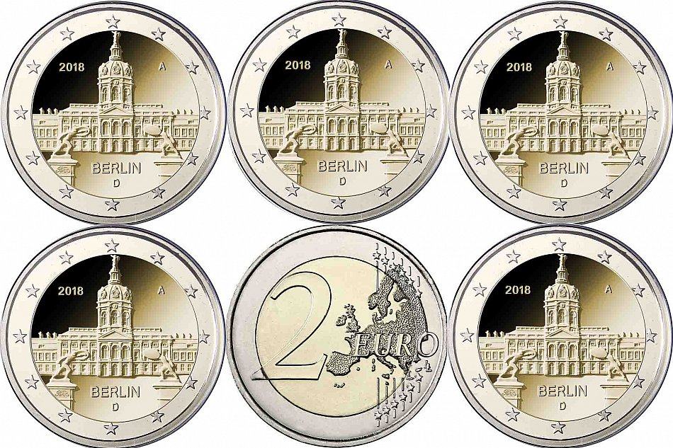 Germany 5 X 2 Euro Lock Charlottenburg 2018 Bank Fresh With Skx
