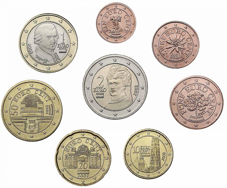 Sterreich 3 88 euro 2002 bfr kursm nzen 1 cent bis 2 for Poco schlafsofa 88 euro
