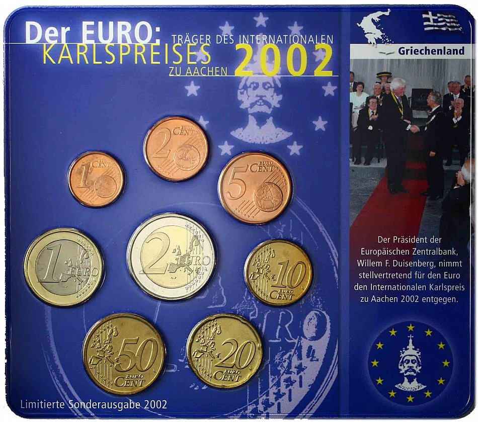 karl price set greece 3 88 euro 2002 euro coin in blister. Black Bedroom Furniture Sets. Home Design Ideas