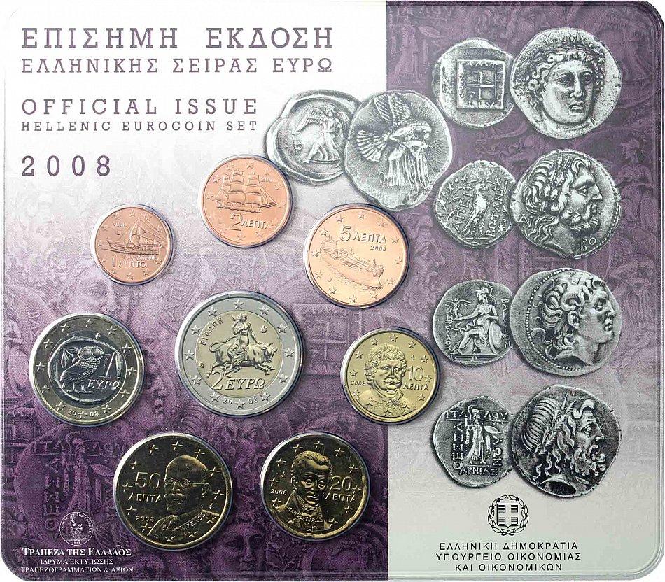 Grecia 388 Euro 2008 Stgl Kms 1 Cent A 2 Euro In Blister Ebay