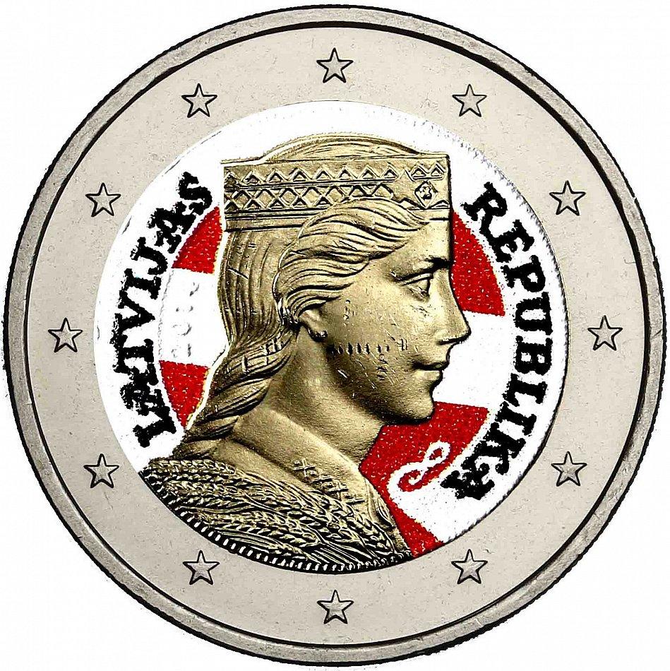 Lettland 2 Euro Münze 2014 Bfr Lettisches Trachtenmädchen Milda In