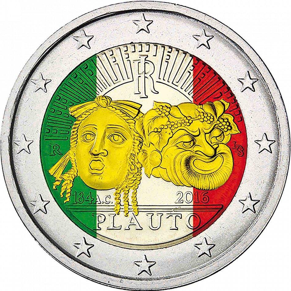 Italien 2 Euro Münze 2016 Bfr Gedenkmünze Tito Maccio Plauto In