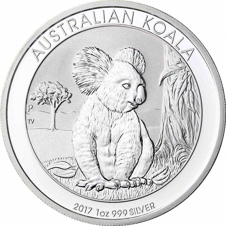 Australia 1 Dollars 2017 Koala Bear Silver Investment Coin