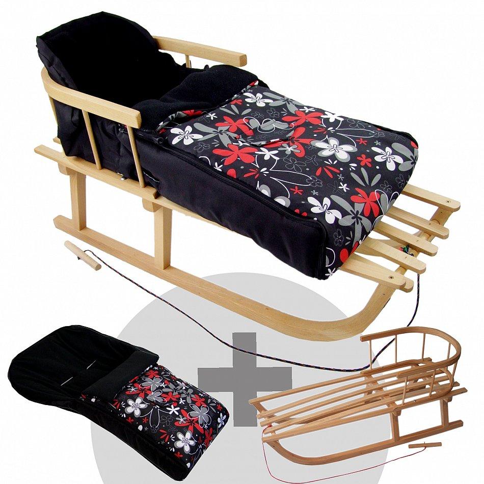 kombi angebot holzschlitten mit r ckenlehne winterfu sack. Black Bedroom Furniture Sets. Home Design Ideas