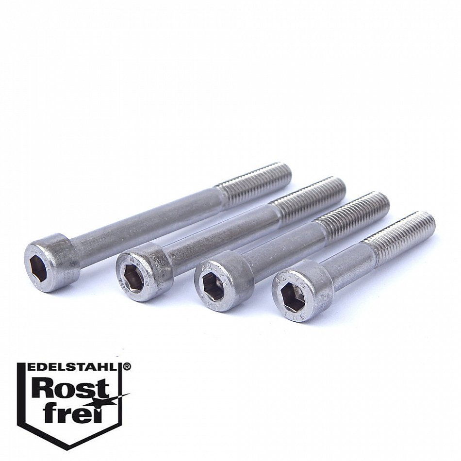 Edelstahl Zylinder-Schraube rostfrei V2A M4-mm stark 40-mm Schrauben-L/änge 25 St/ück 20-mm Teil-Gewinde Innensechskant M4x40