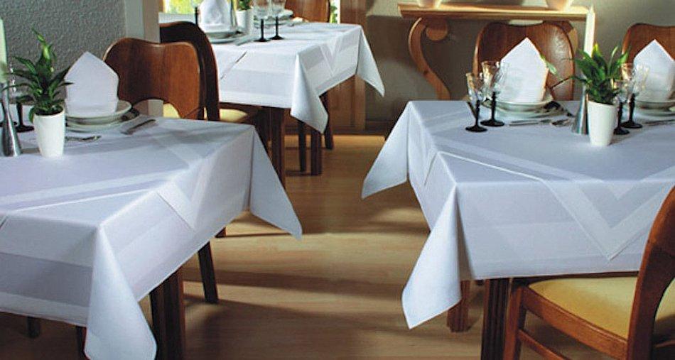 tischw sche tischdecke gastronomie mitteldecke mit atlaskante wei meterware ebay. Black Bedroom Furniture Sets. Home Design Ideas