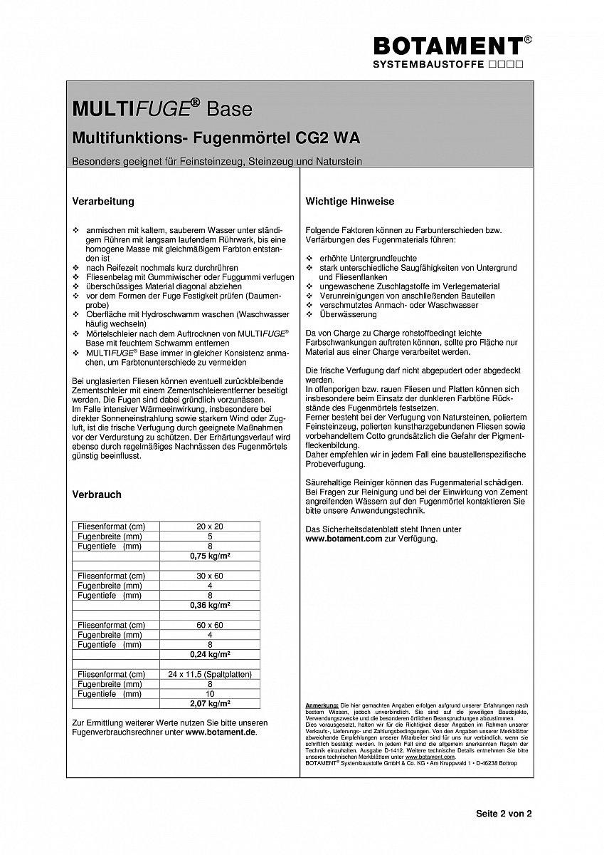 BOTAMENT MULTIFUGE Base MultifunktionsFugenmörtel Kg Fuge EBay - Fugenbreite bei feinsteinzeug
