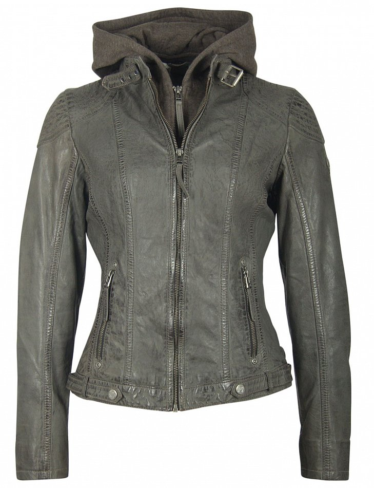 Details zu Gipsy Mauritius Damen Lederjacke Jacke Echtleder Lammnappe Leder Kapuze schwarz