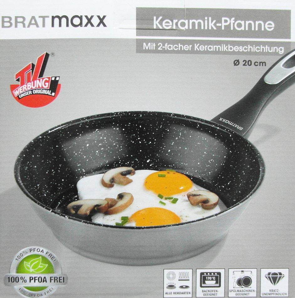 bratmaxx keramik pfanne mit 2 facher keramikbeschichtung 20cm 24cm neu ebay