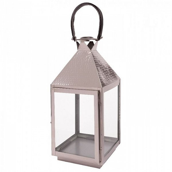 laterne windlicht leuchter medina edelstahl glas hammer optik ledergriff silber ebay. Black Bedroom Furniture Sets. Home Design Ideas
