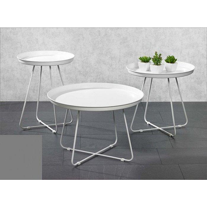 kaheku couchtisch beistelltisch tisch metall tabletttisch alkan wei rund sofa ebay. Black Bedroom Furniture Sets. Home Design Ideas