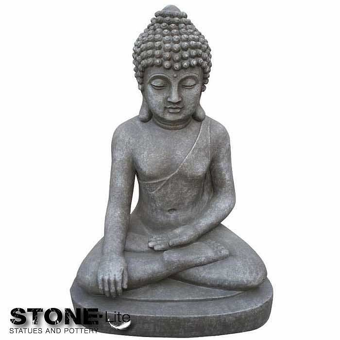 xxl buddha sitzend skulptur gartendeko steingrau spa feng shui fibreclay neu ebay. Black Bedroom Furniture Sets. Home Design Ideas