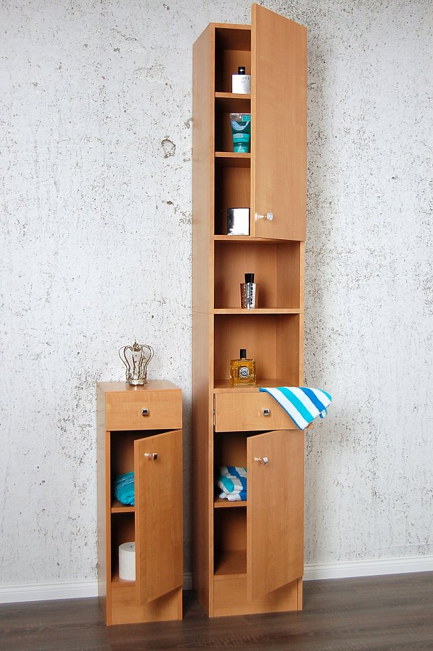 badschrank badezimmerschrank hochschrank schrank badm bel buche bad kommode neu ebay. Black Bedroom Furniture Sets. Home Design Ideas
