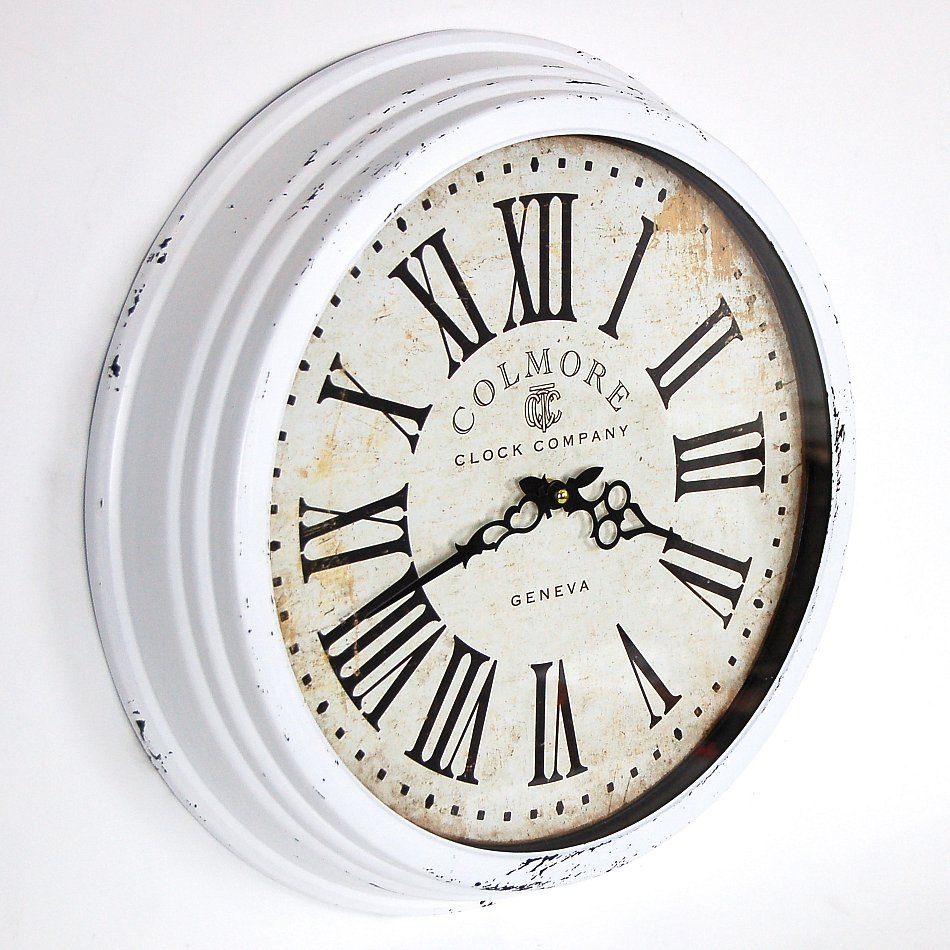 landhaus vintage wanduhr retro shabby chic uhr clock in weiss metall glas 45 cm ebay. Black Bedroom Furniture Sets. Home Design Ideas