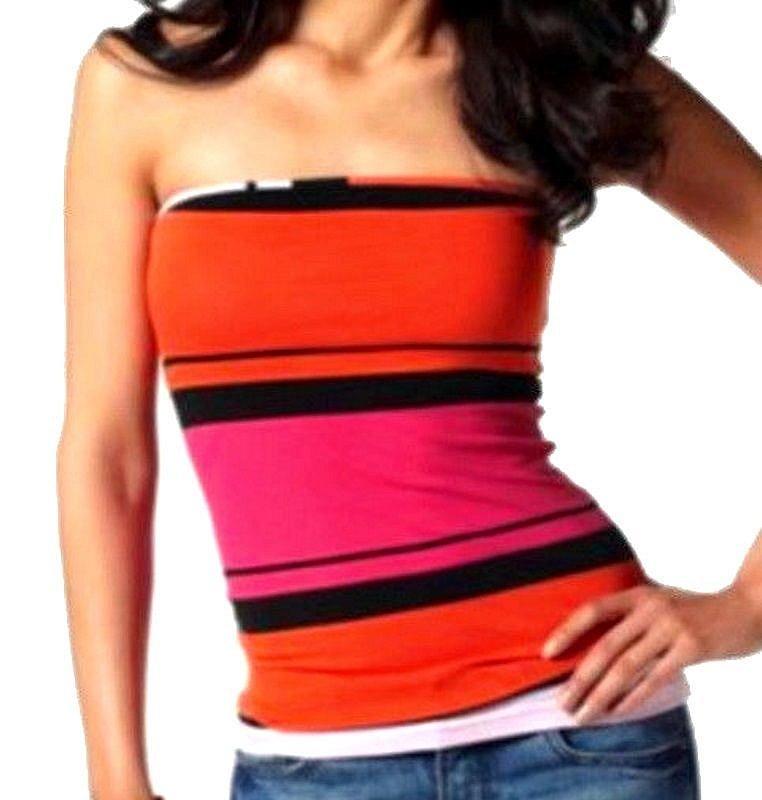 8cd973cd53eb Größen   44 46 hübsches Top von Laura Scott modisches Farbdessin in  orange koralle , schwarz, pink   rosa. Bandeauform mit eingearbeitetem,  elastischem ...