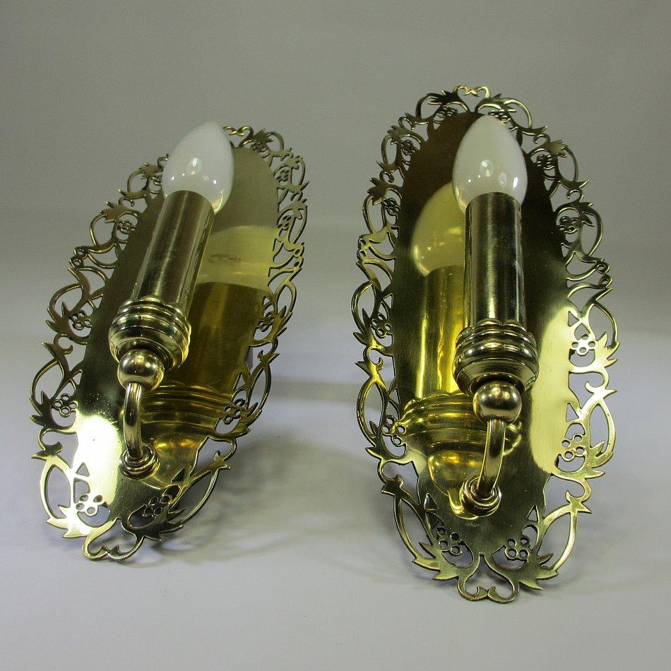 zwei antik wandleuchten vintage wandlampen 29 x 11cm flurlampe spiegel lampen ebay. Black Bedroom Furniture Sets. Home Design Ideas
