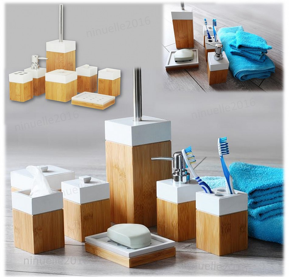 Bad Accessoire Set Badmöbelset Badezimmerset aus natürlichen Bambus ...