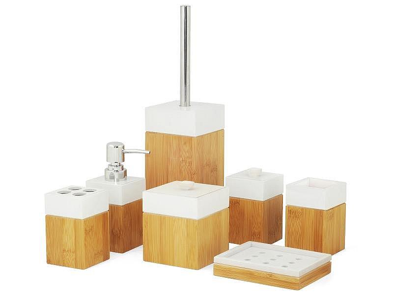bad accessoire set badm belset badezimmerset aus nat rlichen bambus holz bamboo 4260272288018 ebay. Black Bedroom Furniture Sets. Home Design Ideas