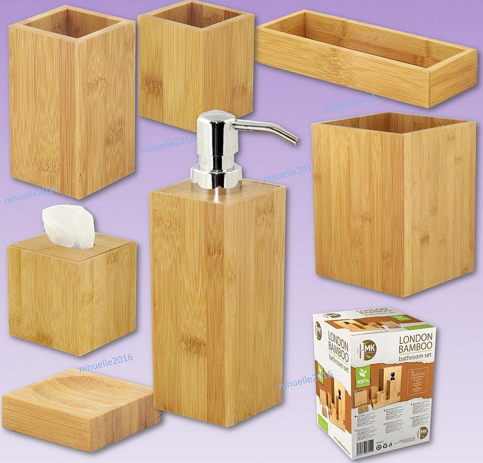 bambus bad accessoire set 7 teilig bambus holz badezimmer zubeh r naturprodukt ebay. Black Bedroom Furniture Sets. Home Design Ideas