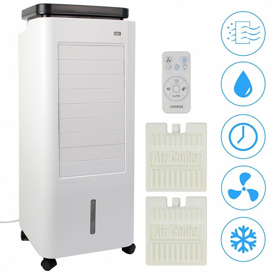 Rafra/îchisseur dair 4,5 litres Minuteur Purificateur dair Ventilateur avec t/él/écommande Arebos Aircooler 4 en 1 4 niveaux Climatiseur mobile