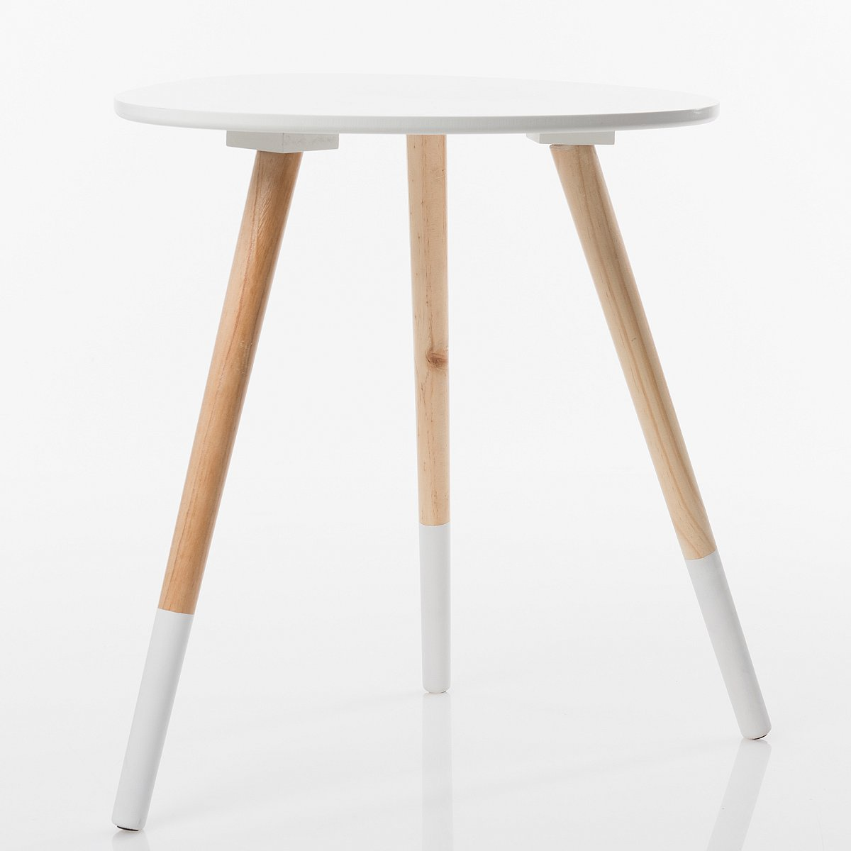 Beistelltisch Couchtisch Telefontisch Nachttisch Holz Weiss Oval
